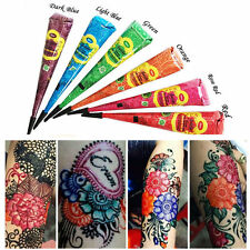 6 x Multi Colored golecha Herbal Henna Cones Temporary Tattoo Body Art Mehandi