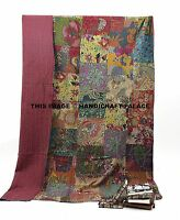 COTTON KANTHA QUILT BEDSPREAD BLANKET THROW INDIAN TWIN SIZE FLORAL PATCHWORK