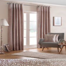 PAIRS OF GLITTERY SPARKLES BORDER BLUSH PINK THICK VELVET LINED EYELET CURTAINS