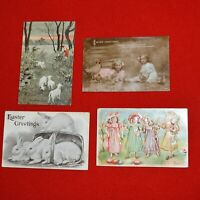 Holiday Postcard Lot Easter Children Bunny Lamb Chick Chicken Eggs 1912 Vintage