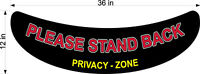 """FLOOR GRAPHIC PLEASE STAND BACK PRIVACY ZONE  NEW LARGER 12"""" X 36"""""""
