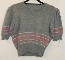 ladies 1940s 1950's Grey & white Pink Fairisle Jumper WWII Events Land Army Girl