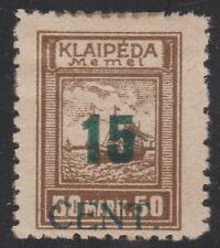 MEMEL/LITHUANIAN OCCUPATION (Scott N83var & Michel 234IV) 1923 Bars Omitted RARE