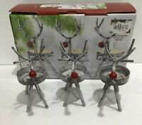 Rustic Iron Metal Christmas Baby Reindeer Tea Light Candle Holders Set Of 3 NIB
