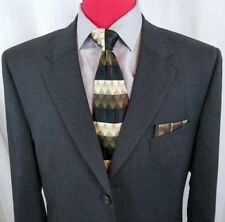 Jos A Bank Suit 43L Black with Pinstripes Flat Front 3btn S. vent