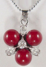 Red Coral Color Shell Pearl 3 Beads Crystal Flower 18KWGP Pendant & Necklace
