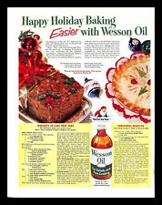 1952 Wesson Oil Shortening Vintage PRINT AD Baking Christmas Fruit Cake Recipe