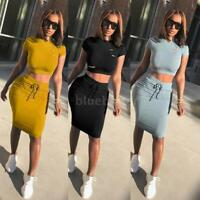 Women 2 Piece Bodycon Two Piece Crop Top and Skirt Set Bandage Dress Party V4Y0