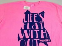 Life's Flat Without Hooters T-Shirt Mens XL Pink Hot Girls Owl Funny Beer NEW