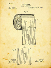 Toilet Paper Patent Drawing Metal Sign, Vintage, Bathroom, Steampunk, Industrial