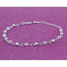 Elegant Women Charm Silver Plated Crystal Chain Beads Bangle Bracelet Jewelry