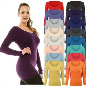 Plus Size Womens Long Sleeve Stretchy Jersey T Shirt Top Ladies Scoop Neck Tee