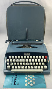 Vintage Brother Webster XL-500 Blue Manual Portable Typewriter w/ Case AS IS REA