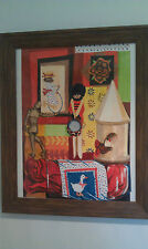 "Framed Watercolor by SALLY STEVENS Original ""Grandma's Things"" 17"" X 19"""