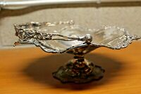 Antique Silver Plated Fruit Basket Compote Derby Silver Co Monogrammed Repouuse