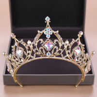 7.5cm High Adult Gold AB Crystal Wedding Bridal Party Pageant Prom Tiara Crown
