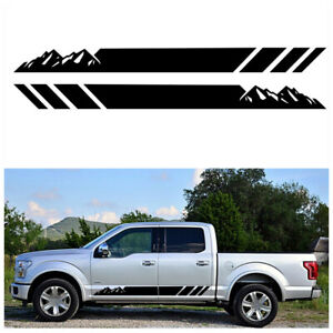 Sport Car Door Side Stripe Mountains Graphics PVC Decal Sticker 2Pcs Waterproof