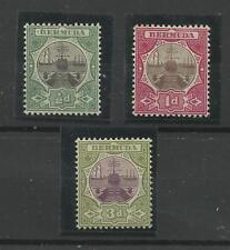 Bermuda 1902 Set de 3, SG 31, 32 & 33, 1/2d, 1d & 3d couronne CA, Perf 14. lm/Comme neuf.