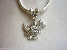 1 x Hen Farm Animal Bird Tibetan Silver Pendant Charm fit European snake chain