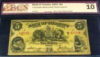 1858 $1  ,CANADA - INTERNATIONAL BANK OF CANADA . CHARTERED BANKNOTE