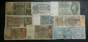 German 12 Different Old Banknotes 1930 - 1940 includes WWII ( 3 with swastika )