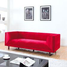 Modern Contemporary Large 3 Seater Red Velvet Sofa