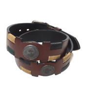 """""""Casbas"""" Polo Belt with Medals - Brown - Argentine Embroidered Leather"""