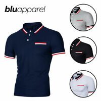 Mens Hudson Golf Summer Polo Shirt Pocket Pique Tees Tops, Navy S M L XL 2XL
