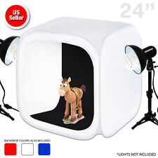 "Photography Light Tent 24"" Photo Studio Backdrop Kit Cube Lighting In A Box"