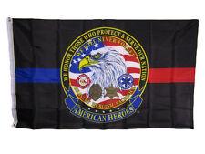 3x5 respetamos que proteger servir American Heroes delgada línea roja bandera azul 3'x5'