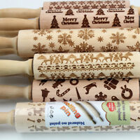 Engraved rolling pin wooden laser cut ANY PATTERN design cookies embossed DIY