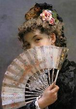 Oil painting Edoardo Tofano portrait young woman holding fan Hand painted art
