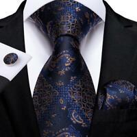 Blue Paisley Silk Tie Set Necktie Pocket Square Cufflinks Wedding Gift Box Set