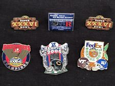 LOT OF SIX (6) MISC FOOTBALL TEAM PINS BEARS,BUCS,RUTGERS,VT/KU,SUPER BOWL XXXVI