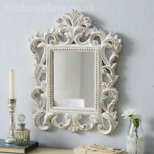 Carved Ornate Mirror - Antique White