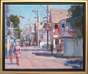 STREET IN PROVINCETOWN~LISTED ARTIST~ORIGINAL OIL PAINTING BY MARC FORESTIER
