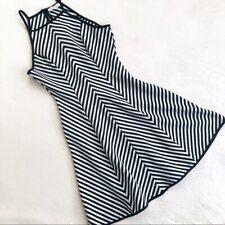 Monteau Women's Summer A-Line Dress Size Medium Stripe Black White