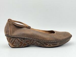 Clarks Artisan Collection Brown Ankle Strap Wedges Sandals Shoes Women's 9 M