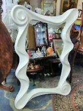 LARGE ORGANIC SHAPED WALL/FLOOR MIRROR, HEAVY WHITE SHAPED FRAME 160 x 106 cms