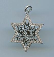 925 STERLING SILVER & PAVE CZ STAR OF DAVID & SHEMA ISRAEL PRAYER PENDANT