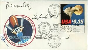 1983  STS-8  4  ASTRONAUTS  SIGNED  FLOWN  COVER  SPACE  ROCKET  RRR
