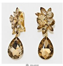 "2.75"" Light Brown Gold Long Rhinestone Crystal Pageant Dangle Earrings Clip On"