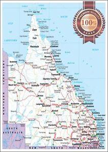 QUEENSLAND STATE ROADS QLD MAP OF AUSTRALIA AUS WALL CHART PRINT PREMIUM POSTER