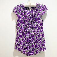 MILLY NEW YORK Womens Purple Floral Polka Dot Cap Sleeve Silk Blouse Size 10