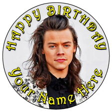 "HARRY STYLES 7.5"" PERSONALISED ROUND EDIBLE ICING CAKE TOPPER (1)"
