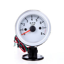 52mm Auto Tachometer Tach Pointer Gauge Rev Counter Black Holder Cup White Dial