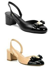 Women MK Michael Kors Caroline Flex Mid Sling  Pump Leather
