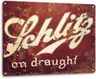 Schlitz On Draught Logo Retro Draft Wall Decor Bar Man Cave Large Metal Tin Sign
