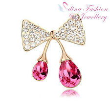 18K Gold Plated Made With Swarovski Crystal Double Pink Teardrop Bowknot Brooch
