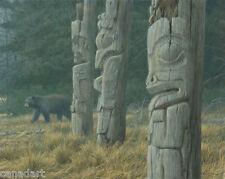 Robert BATEMAN Totem Pole and Black Bear LTD art print MINT in folder with COA